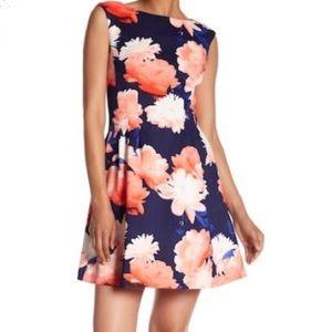 VINCE CAMUTO floral dress scuba pink navy